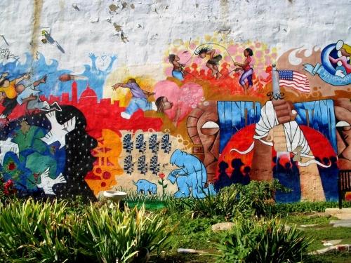 colorful neighborhood mural / photo by Kevin Rosseel