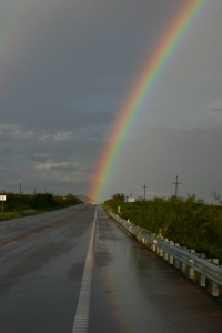 rainbow at the end of the road